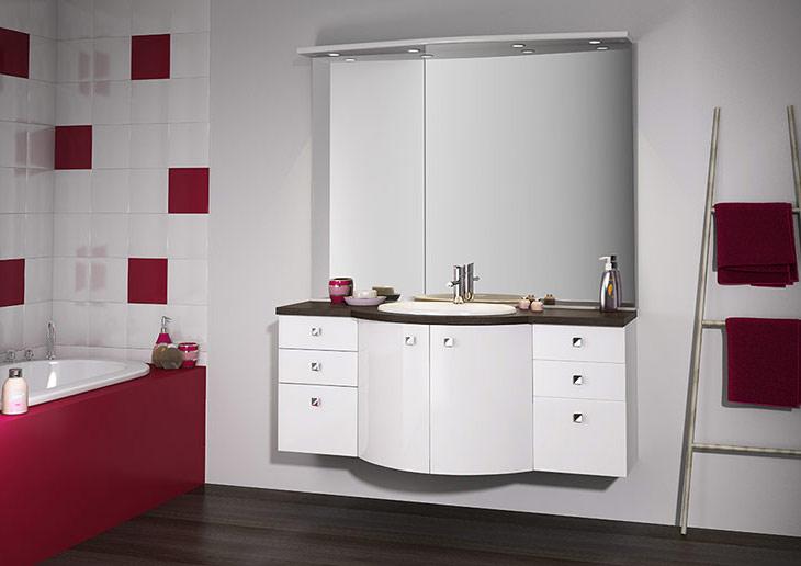 meuble salle de bain laqué prune